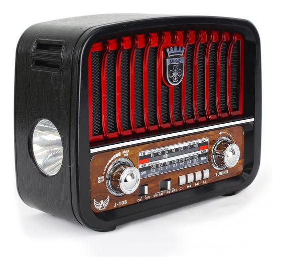 Rádio Analógico Antigo Portátil 3 Bandas Am Fm Sw Usb Retro