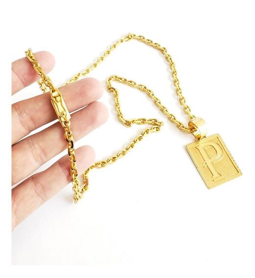Cordao E Pingente Cadeado 6mm Banhado A Ouro 18k Masculino