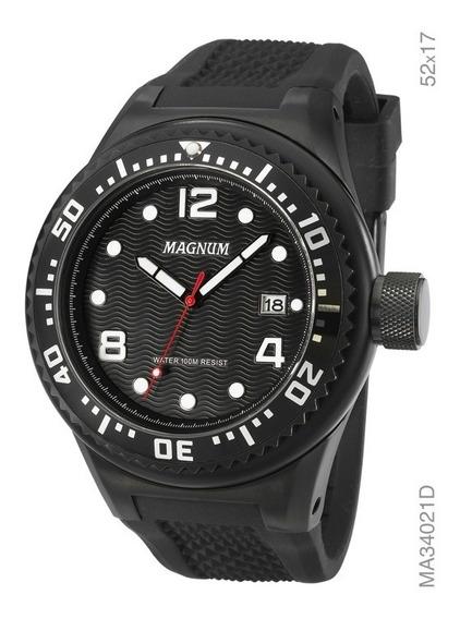Relógio Magnum Masculino Ma34021d Pulseira Silicone Preto