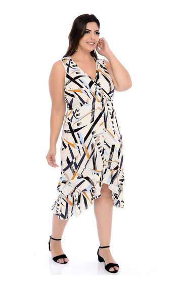Vestido Plus Size Midi Viscose Estampado