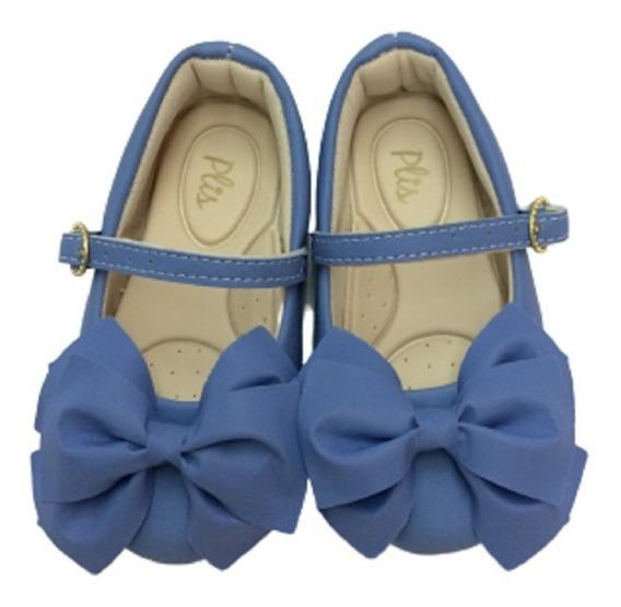 Sapatilha Menina Infantil Colorê Plis Calçados Azul 061