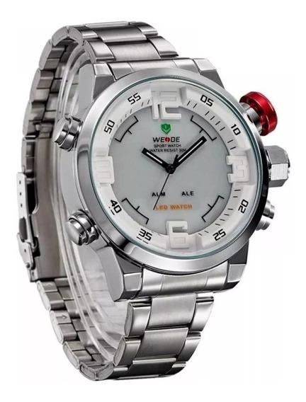 Relógio Masculino Weide Anadigi Casual Wh-2309 Branco - Novo