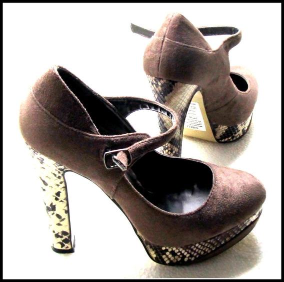 Zapatos Plataforma Tacón Damas Marca Gibeli Marron-beige