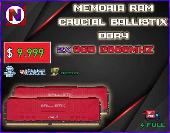 Memoria Ram Crucial Ballistix 16gb Kit 2x8gb Ddr4 2666 Mhz