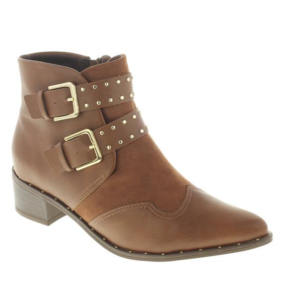 Bota Ankle Boots Ramarim 1854104 Bico Fino Camurça