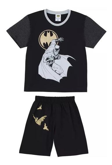 Pijama Lupo Meninos Infantil Batman Cinza E Preto