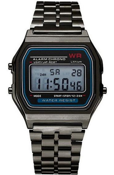 Relógio Retro Preto Digital Pulseira De Aço Cronometro Calendário Alarme Unissex