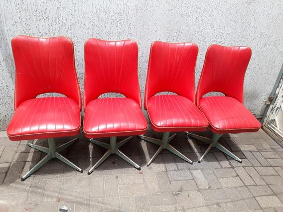 4 Cadeira Antiga De Corino Vintage Retro Vermelha Giratória