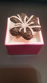 Anel De Prata Com Zircônia Negra Em Formato De Flor
