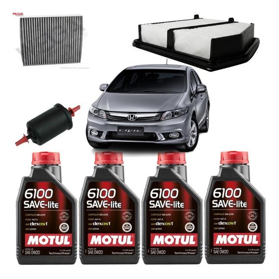 Kit Revisão +óleo Motul 0w20 Honda Civic 1.8/2.0 2013+