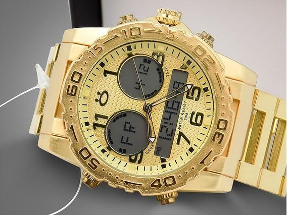Relógio Masculino Dourado Ultimas Peças