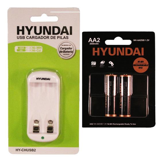 Cargador Usb De Baterías + Pilas Recargables Aa