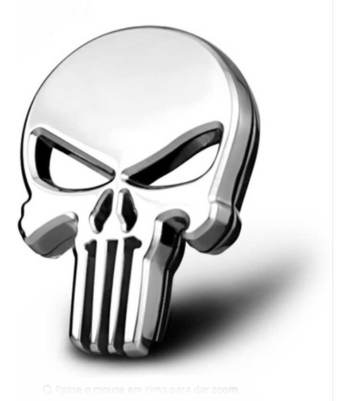 Adesivo O Justiceiro Caveira The Punisher Metal Crânio 3d