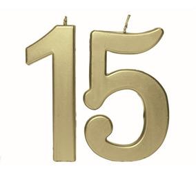 Vela Aniversario 15 Anos Metalizado Dourado Decoração Fest