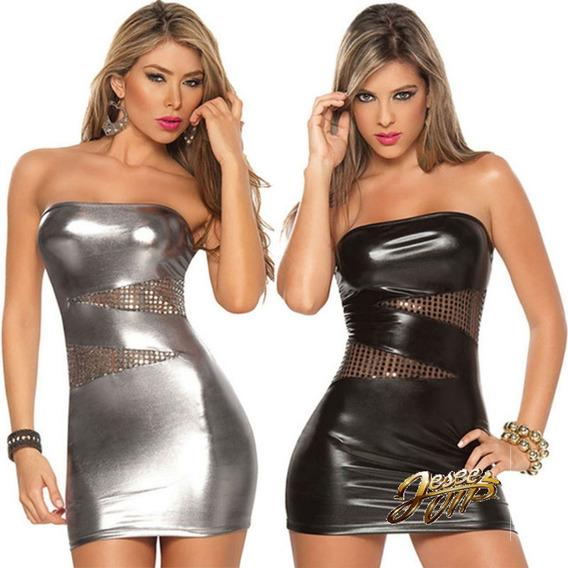 Vestido De Pvc Sexy Vestido Mini De Cuero Sin Tirantes