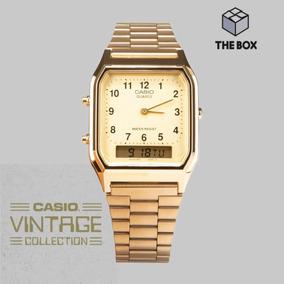 d21fb73e1 Reloj Casio Vintage Original Aq230 Dorado Envío Gratis