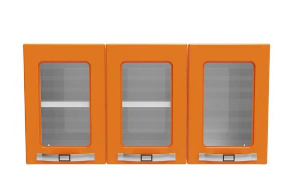 Armário De Parede Colormaq Class Slim 3 Portas Aço E Vidro