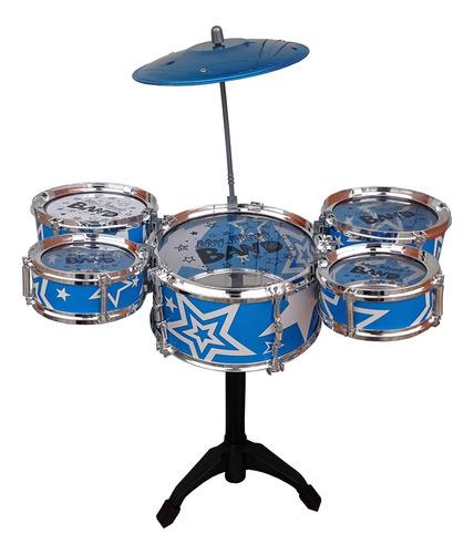 Mini Bateria Infantil Musical 5 Tambores Com Banco Jazz Drum