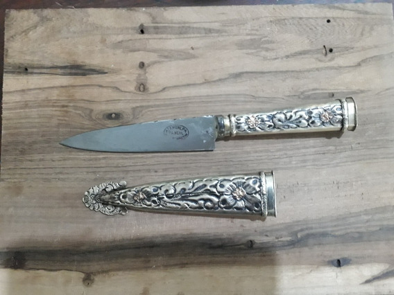 Unico Cuchillo Atahualpa Alpaca Y Oro 12cm Hoja 3 Cuño