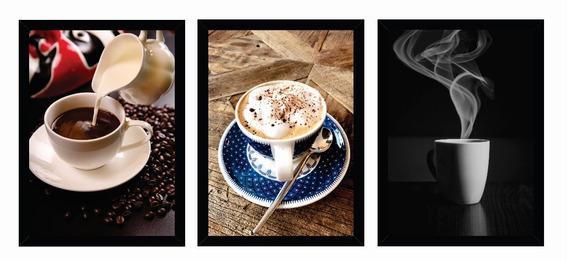 Trio De Quadro Decorativo Coffee C/ Moldura Cozinha, 20x30