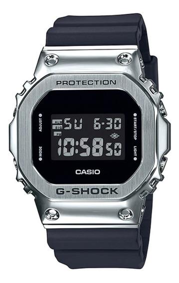 Relogio Casio G-shock Gm-5600-1 Bezel Em Aço Prata Original