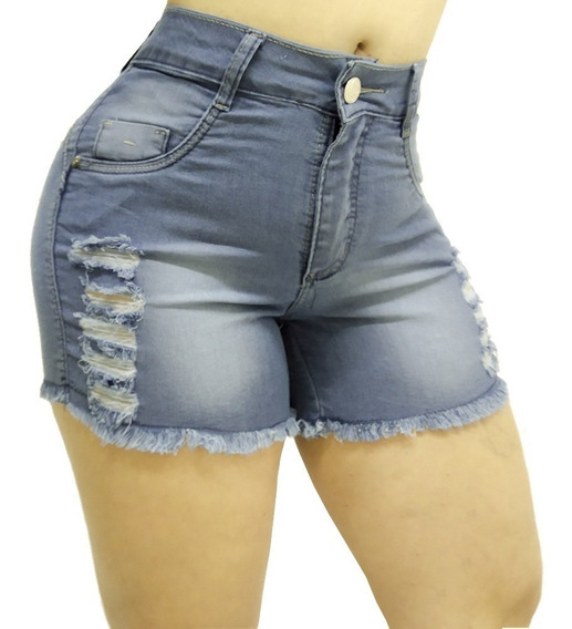Shorts Jeans Feminino Destroyed Com Lycra Bleff