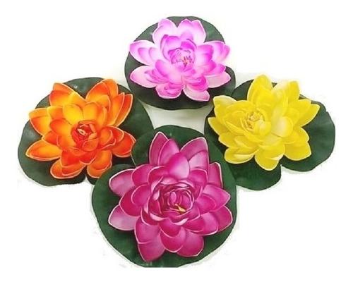 Imagem 1 de 6 de 9 Flores De Lotus Artif. Flutuante Piscina 19cm Várias Cores