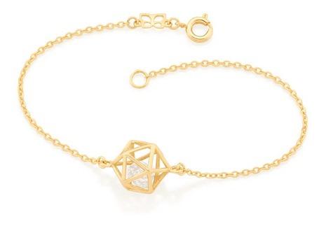 Pulseira Icosaedro Folheada A Ouro
