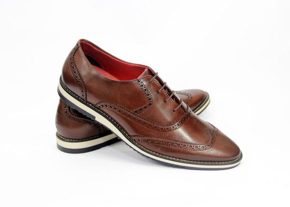 Sapato Masculino Italiana Casual Inglês Oxford Brogue Couro