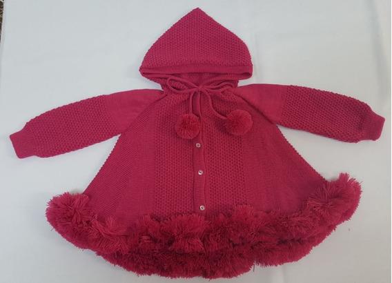 Casaco (trapézio) Para Bebê Pink Com Capuz Tricot