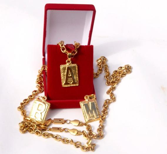 Conjunto Cordão Cadeado + Placa Letra Banhados Ouro Aço In