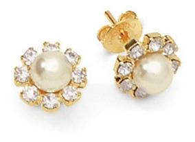 Aros Laminado En Oro Flor Perlas-joyas Mujer Regalo