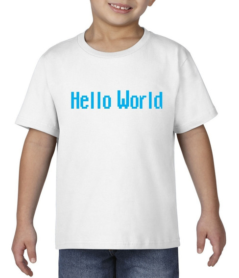 Camiseta Playera Bebe Niño Geek Programador Hello World Azul