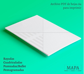 Kit Imprimible Hojas A4 Rayadas, Bullet, Etc. P/ Encuadernar