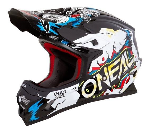 Capacete Oneal 3 Series Villain Branco Motocross Trilha