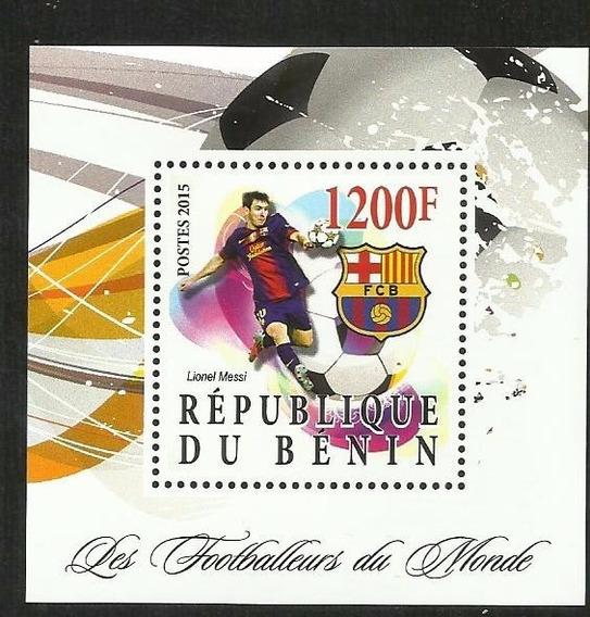 Benin 2015 Bloque Estampilla Futbol- Lio Messi - Barcelona