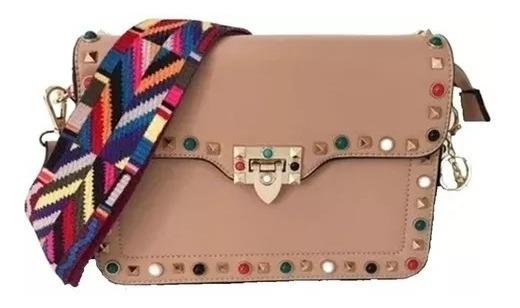 Bolsa Rosa Feminina Com Alça Transversal Colorida Outlet