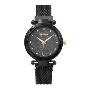 Kit 2 Relógio Preto E Vermelho Pulseira Imã Céu Estrelado