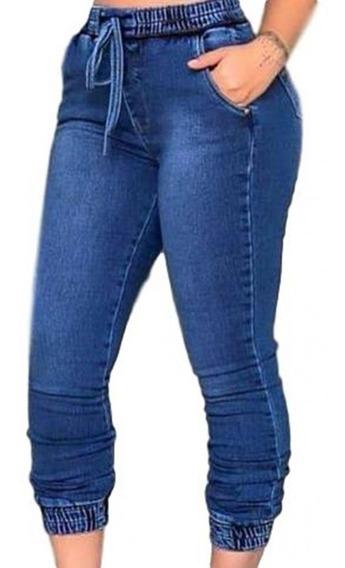 Kit Com 03 Calça Jeans Jogger Feminina Com Elástico Atacado