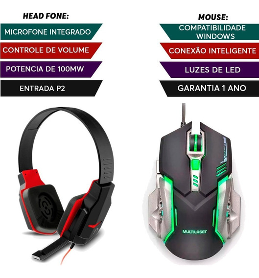 Kit Fone Game Warrior + Mouse Led 07 Botões 2400 Dpi