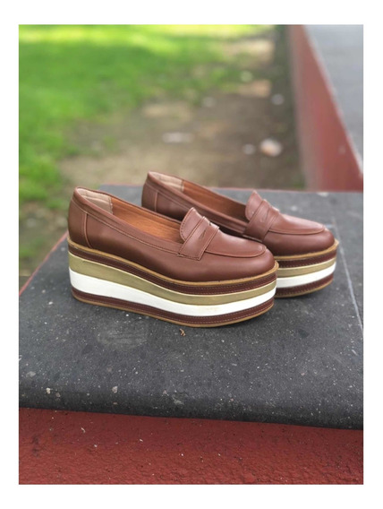 Zapatos Mujer Plataforma Café