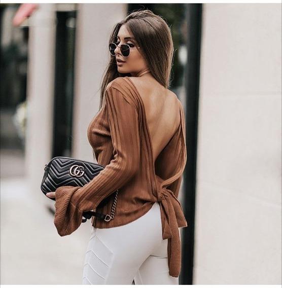 Tricot Blusa De Frio Blusão Feminino Canelado Transpassado Ou Costas De Fora