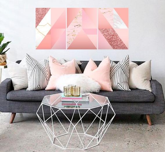 Quadros Decorativos Moderno Abstrato Rosa Mdf 6mm - 150x67cm