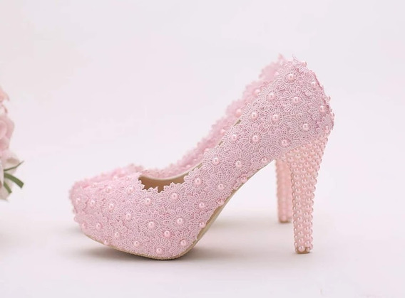 Sapato De Salto Alto Com Plataforma Noiva Ou Debutante