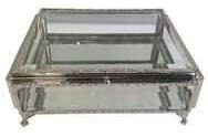 Porta Joia De Metal E Cristal - 17x17x9.5 Cm