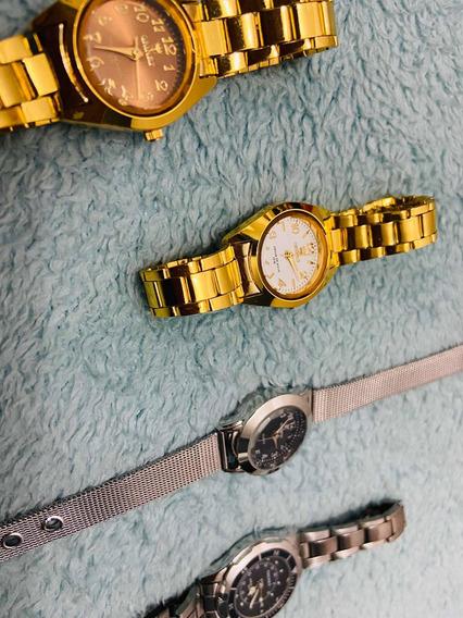 Relógio Feminino Dourado Banhado A Ouro
