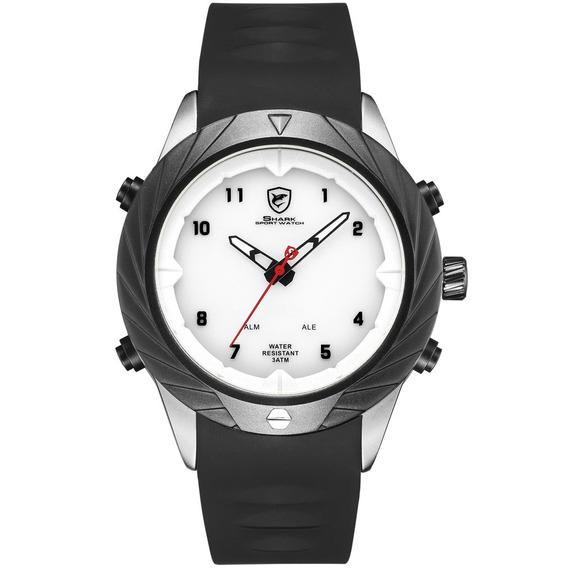 Preto Gel Cinta Duplo Exibição Quartz Relógio Simples Relógi