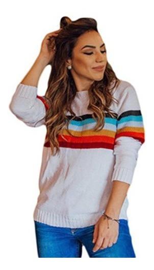 Blusa Tricot Tricô Listrada Croche Feminina Inverno