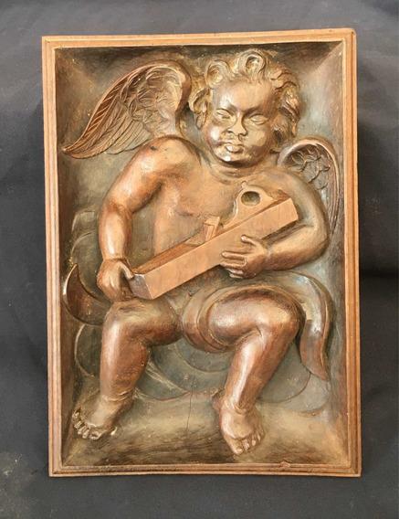Quadro Escultura Anjinho Carpinteiro Antigo Madeira