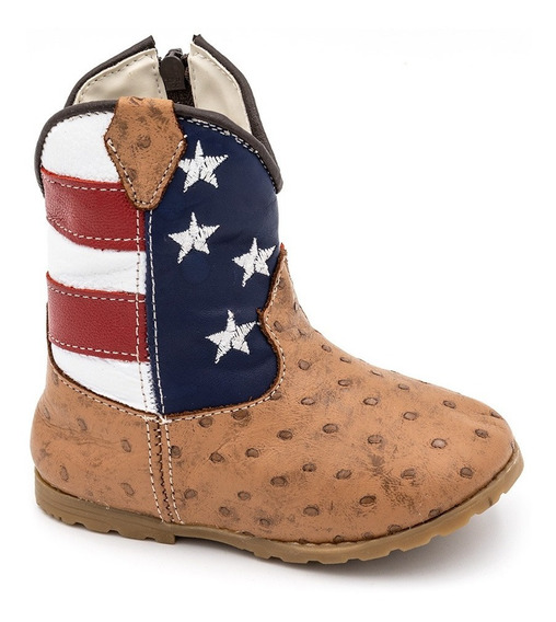 Bota Infantil Bebê Texana Country Americana 100% Couro Usa